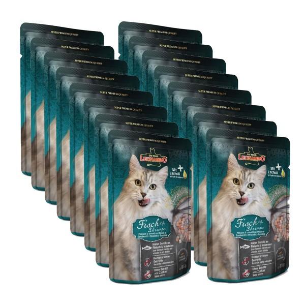 Leonardo Fischmenü mit Fisch + Shrimps 16x85g Nassfutter für Katzen im Frischebeutel