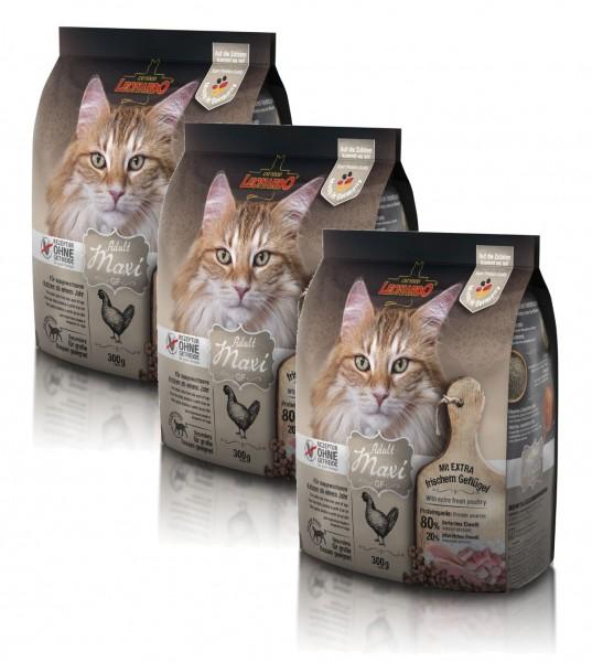 Katzen Trockenfutter - 3x Adult GF Maxi mit Geflügel 300g - Getreidefrei - Leonardo Katzenfutter