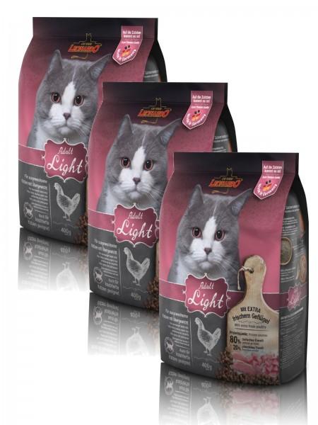 Katzen Trockenfutter - 3x Adult Light für Katzen mit Übergewicht 400g - Leonardo Katzenfutter