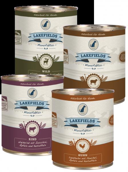 LAKEFIELDS MANUFAKTUR Probierset 4x 800g Sorten Mix - hoher Fleischanteil - Nassfutter für Hunde