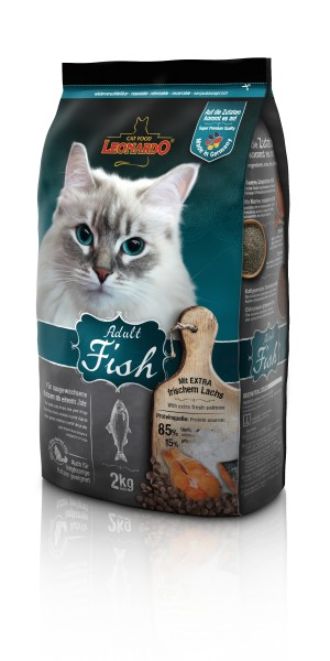 Katzen Trockenfutter - Adult Fish mit Fisch & Reis 2Kg - Leonardo Katzenfutter - leichtverdaulich