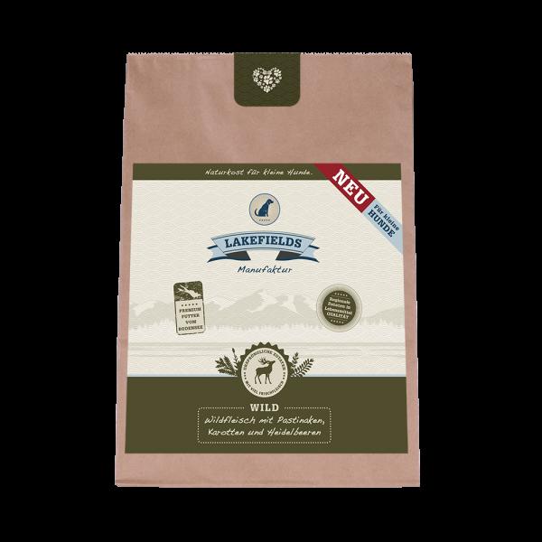 Lakefields Premium Trockenfleisch-Menü Wild FÜR KLEINE HUNDE Trockenfutter mit Pastinaken, Karotten und Heidelbeeren