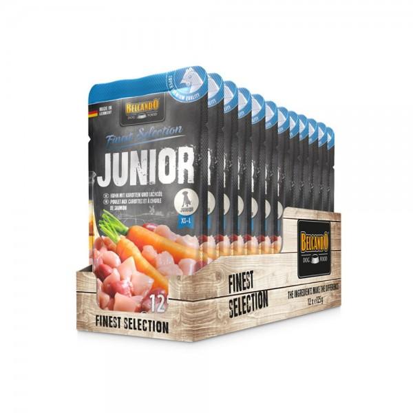 Belcando Frischebeutel [12x125g Junior Huhn mit Karotten| Nassfutter für Hunde | Feuchtfutter Alleinfutter im Einzelportionsbeutel