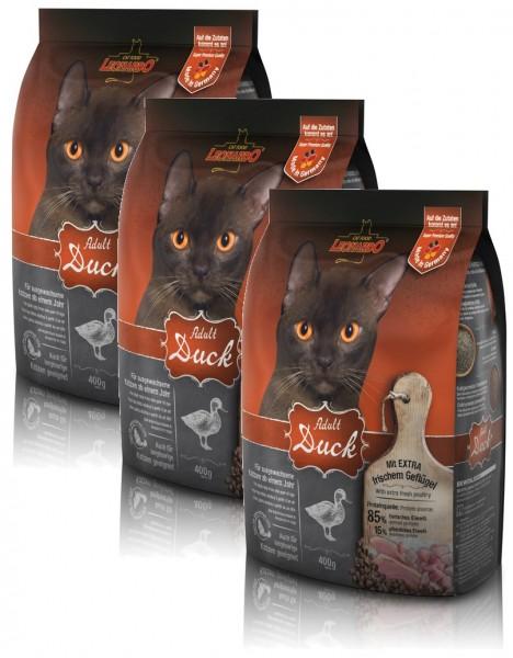Katzen Trockenfutter - 3x Adult Duck mit Ente & Reis 400g - Leonardo Katzenfutter - leichtverdaulich