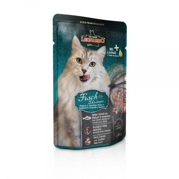 Leonardo Fischmenü mit Fisch + Shrimps 1x85g Nassfutter für Katzen im Frischebeutel