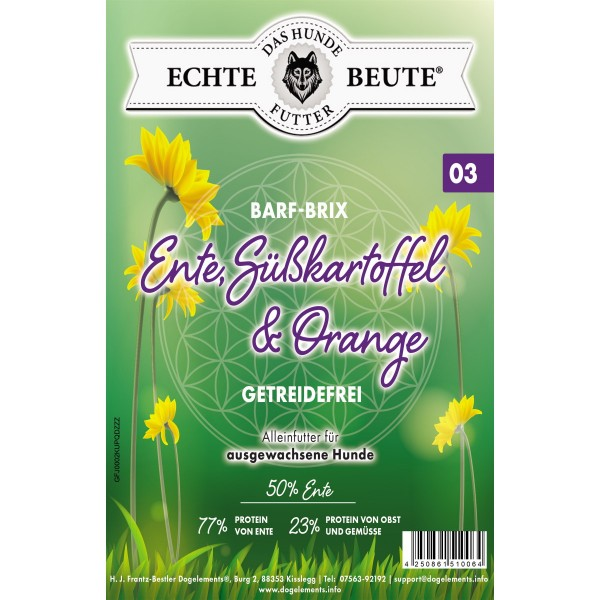 Dogelements-Echte Beute-Barf Brix Nr. 03 - 2 Kg - Ente, Süßkartoffel und Orange