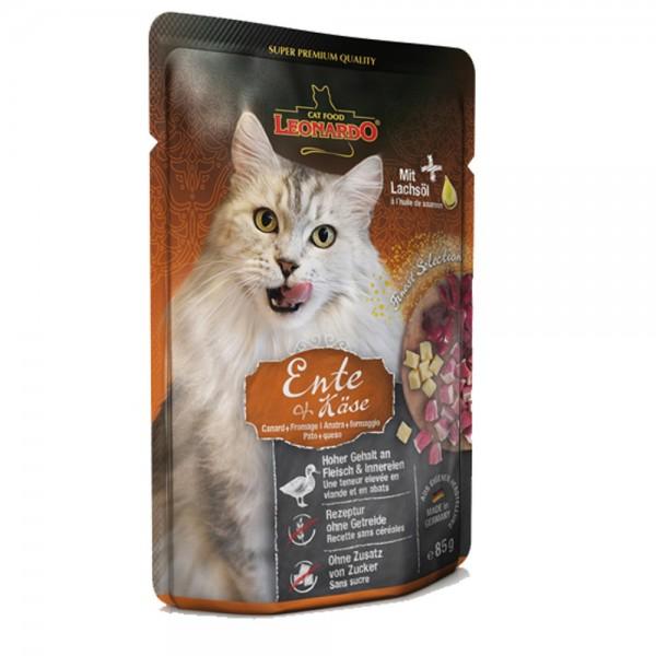 Leonardo Ente + Käse, 1x85g Nassfutter für Katzen im Frischebeutel