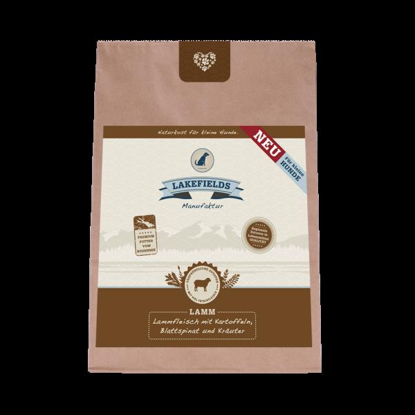 Lakefields Premium Trockenfleisch-Menü Lammfleisch FÜR KLEINE HUNDE mit Kartoffeln Blattspinat Kräuter