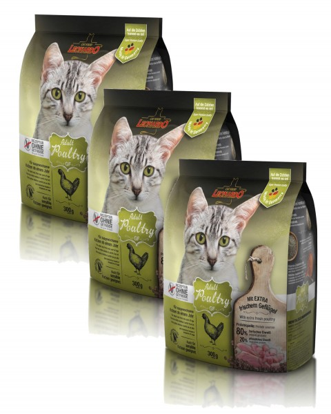 Katzen Trockenfutter - 3x Adult GF Poultry mit Geflügel 300g - Getreidefrei - Leonardo Katzenfutter