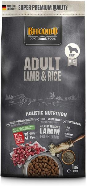 Belcando Adult Lamb & Rice Hundefutter 1kg | Trockenfutter für empfindliche Hunde | Alleinfuttermittel für ausgewachsene Hunde ab 1 Jahr