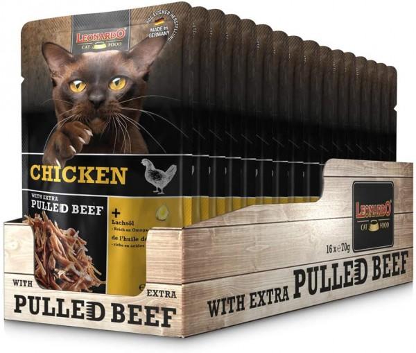 Leonardo Frischebeutel Chicken mit Fleischstreifen [Pulled Beef] 16x 70g