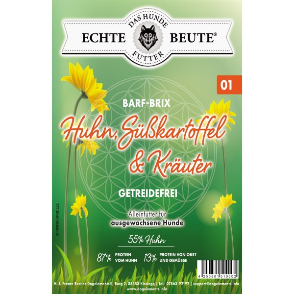 Dogelements - Echte Beute - Barf Brix Nr. 01 - 2 kg - Huhn, Süßkartoffel, Kräuter
