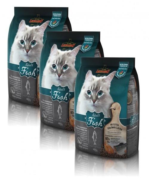 Katzen Trockenfutter - 3x Adult Fish mit Fisch & Reis 400g - Leonardo Katzenfutter - leichtverdaulich