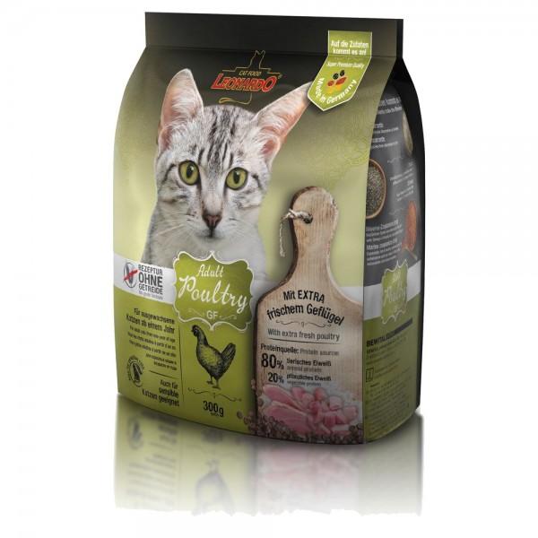 Katzen Trockenfutter - Adult GF Poultry mit Geflügel 300g - Getreidefrei - Leonardo Katzenfutter